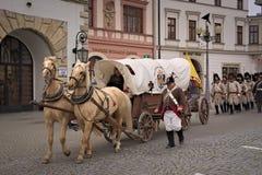 Parade Napoleon's army in Vyskov Royalty Free Stock Image