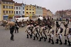 Parade Napoleons-Armee in Vyskov Lizenzfreies Stockfoto