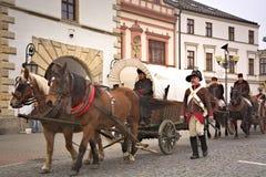 Parade Napoleons-Armee in Vyskov Stockfotografie