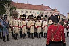 Parade Napoleons army in Vyskov Stock Photos