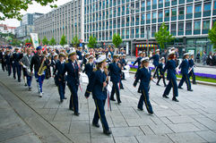 The parade at norwegian constitution day. In Stavanger royalty free stock photo