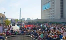 Parade op het vierkante vakantiejaar 9 Mei, 2017 Rusland, Vladivostok Royalty-vrije Stock Afbeeldingen