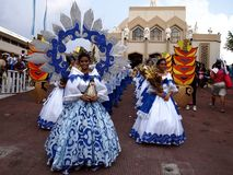 Parade participants in their colorful costumes during the Sumaka Festival in Antipolo City. Stock Photos