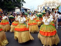 Parade participants in their colorful costumes during the Sumaka Festival in Antipolo City. Stock Photo
