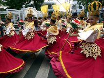 Parade participants in their colorful costumes during the Sumaka Festival in Antipolo City. Royalty Free Stock Photos