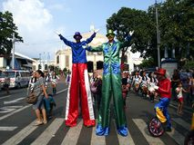 Parade participants in their colorful costumes during the Sumaka Festival in Antipolo City. Royalty Free Stock Photography