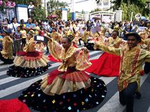 Parade participants in their colorful costumes during the Sumaka Festival in Antipolo City. Royalty Free Stock Photo