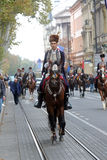 Parade of 70 participants, twenty horses and forty members of the marching band have announced the next 300 Alka Royalty Free Stock Photography