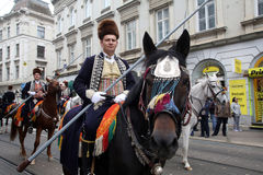 Parade of 70 participants, twenty horses and forty members of the marching band have announced the next 300 Alka Royalty Free Stock Photo