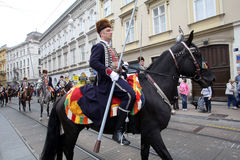 Parade of 70 participants, twenty horses and forty members of the marching band have announced the next 300 Alka Stock Photography
