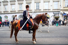 Parade of 70 participants, twenty horses and forty members of the marching band have announced the next 300 Alka Stock Photos