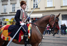Parade of 70 participants, twenty horses and forty members of the marching band have announced the next 300 Alka Royalty Free Stock Photos