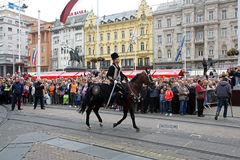 Parade of 70 participants, twenty horses and forty members of the marching band have announced the next 300 Alka Stock Image