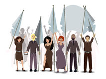 Parade. people with flags. illustration Stock Images