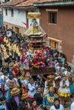 Parade peruanische Anden Pisac Peru Virgen Del Carmen stockfotos