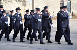 During the parade. Photo was taken during Canadian Remembrance Day ceremonies in Winnipeg City, Manitoba province, Canada. on November 11, 2013. Location St stock photography
