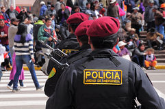 Parade. Policemen stand on the main city square as they arrive at the parade on May 19, 2013 in Puno, Peru Stock Images