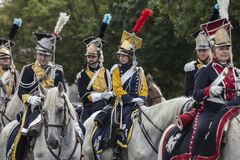 Parade of Polish soldiers in historical uniforms. Day of Polish Army Stock Image