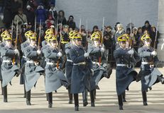 Parade of presidential guards marching out stock photos
