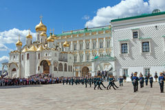 Parade of presidential guards in Moscow Kremlin Stock Photos