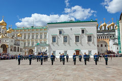 Parade of presidential guards in Moscow Kremlin Royalty Free Stock Images