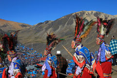 Parade at Quyllurit'i inca festival in the peruvian andes near ausangate mountain. Royalty Free Stock Photo