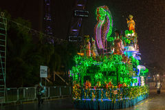 Parade is ranked as largest street festival in Asia. SINGAPORE - JAN 19, 2016: Unidentified participants Chingay Parade. The Chingay Parade is held during the Royalty Free Stock Photo