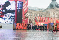 Parade on Red Square in Moscow Stock Photo