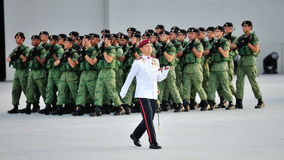 Parade Regimental Sergeant Major marching during National Day Parade (NDP) Rehearsal 2013 Stock Photos