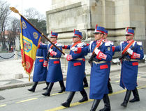 Parade rehearsal. Soldiers at parade rehearsal before National Day of Romania in Bucharest Royalty Free Stock Photos