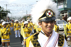 Parade rest. Picture of a parade during a town annual fiesta in the Philippines Stock Image