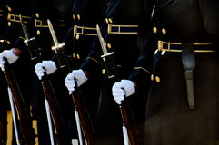 Parade Rest. Horizontal photo of soldiers at parade rest with rifles and bayonets Stock Photo
