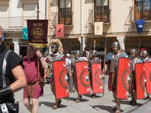 PARADE OF ROMAN TROOPS, HISTORICAL RECREATION. IN THE ANNUAL PARTY OF ASTURES AND ROMANS, ASTORGA, LEON, SPAIN, EUROPE, JULY 28, 2018 royalty free stock photos