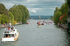 Parade Route. Opening Day of Boating Parade route through the Montlake Cut next to the University of Washington Royalty Free Stock Photos