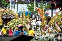 Parade of Rub Bua Festival (Lotus Throwing Festival)in Thailand. Royalty Free Stock Photos