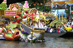 Parade of Rub Bua Festival (Lotus Throwing Festival) in Thailand. Royalty Free Stock Image