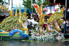Parade of Rub Bua Festival (Lotus Throwing Festival) in Thailand. Royalty Free Stock Images