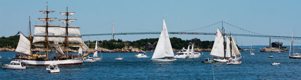 Parade of Sail, Newport Rhode Island Royalty Free Stock Photos