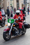 The parade of Santa Clauses on motorcycles around the Main Market Square in Cracow Stock Photo
