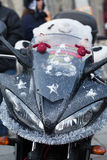 The parade of Santa Clauses on motorcycles around the Main Market Square in Cracow Stock Photos