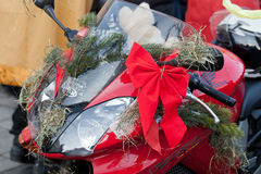 The parade of Santa Clauses on motorcycles around the Main Market Square in Cracow Royalty Free Stock Photo