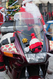 The parade of Santa Clauses on motorcycles around the Main Market Square in Cracow Royalty Free Stock Image