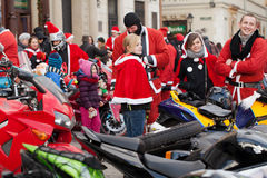 The parade of Santa Clauses on motorcycles around the Main Market Square in Cracow Royalty Free Stock Images