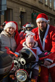 The parade of Santa Clauses on motorcycles around the Main Market Square in Cracow. Poland Stock Images