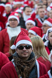The parade of Santa Clauses on motorcycles around the Main Market Square in Cracow. Poland Stock Photo