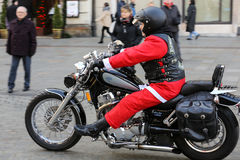 The parade of Santa Clauses on motorcycles around the Main Market Square in Cracow. Stock Image