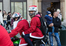 The parade of Santa Clauses on motorcycles Royalty Free Stock Photography