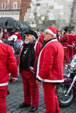 The parade of Santa Clauses on motorcycles Royalty Free Stock Photo