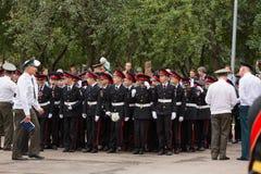 Parade am 1. September im ersten Moskau-Kadett-Korps lizenzfreie stockbilder