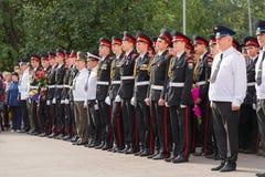 Parade am 1. September im ersten Moskau-Kadett-Korps stockbild